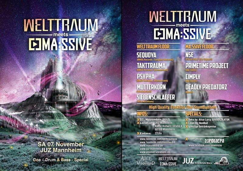 Party Flyer WeltTraum meets MA:SSIVE -- Goa - Drum & Bass - Special 7 Nov '15, 22:00