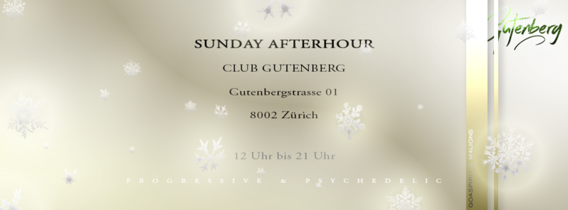 Party Flyer SUNDAY AFTERHOUR Club GUTENBERG in Zürich 27 Dec '15, 12:00