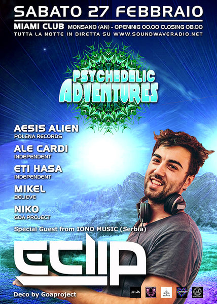 Party Flyer ★ Psy Adventures pres. E-CLIP (Iono Music - Serbia) ★ 27 Feb '16, 23:00