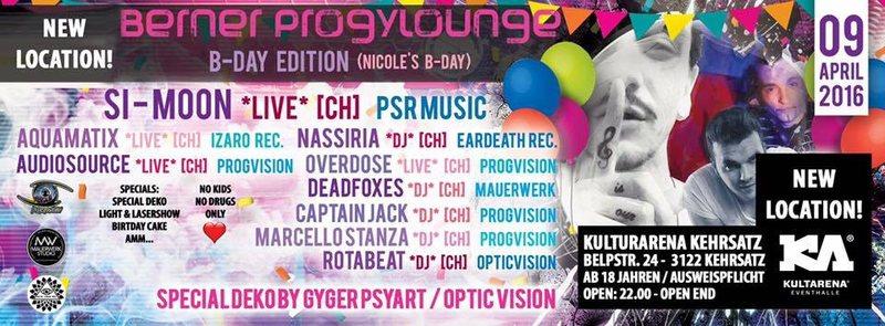 Party Flyer Berner Progylounge - ॐ★ Nicole's B-Day ★ॐ SI_MOON Live 9 Apr '16, 22:00