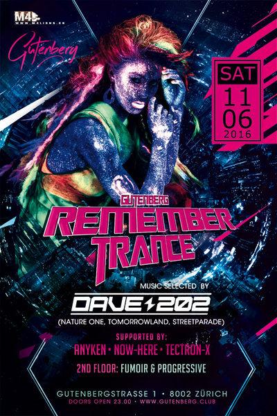 Party Flyer REMEMBERTRANCE & PROGRESSIVE mit DAVE 202 // TECTRON-X // ANYKEN // NOW-HERE 11 Jun '16, 23:00