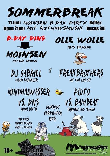 Party Flyer Sommer Break Moinsen B-Day Party 11 Jun '16, 22:00