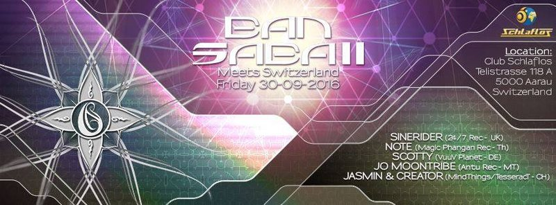 Party Flyer BAN SABAII Meets Switzerland 30 Sep '16, 22:00
