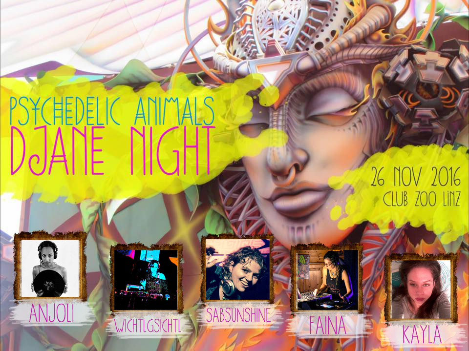 Party Flyer Psychedelic Animals IV - DJane Night 26 Nov '16, 22:00