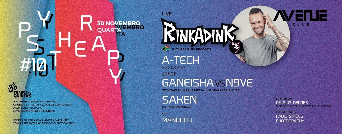 Party Flyer Psy therapy#10 - Rinkadink< Quarta-feira (Vespera de feriado ) 30 Nov '16, 23:30