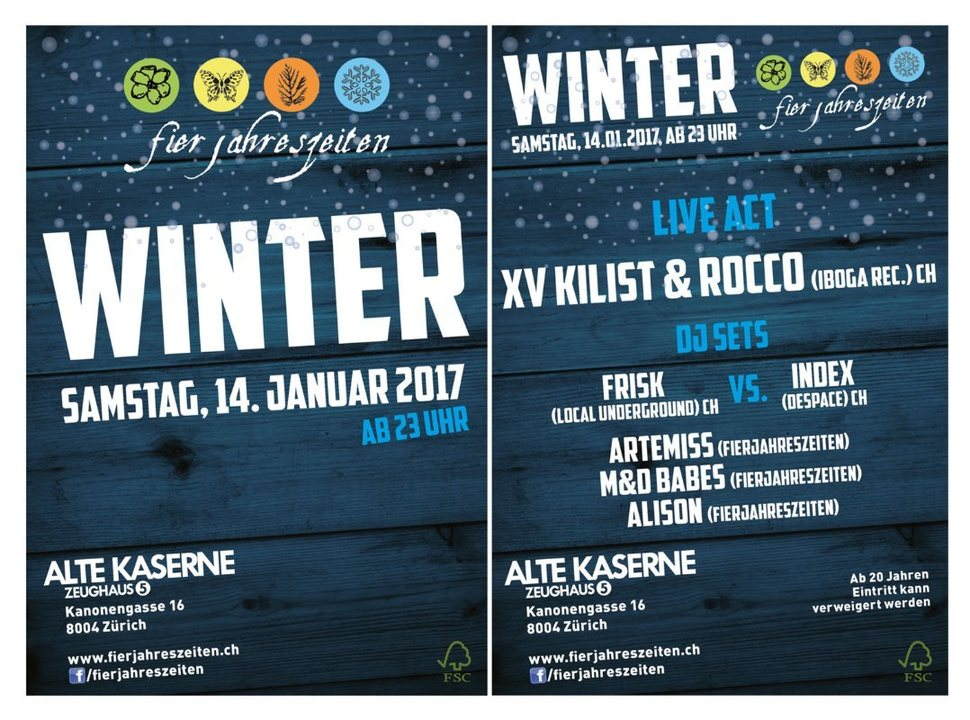 Party Flyer Fierjahreszeiten Winterparty 14.01.2017 alte Kaserne ab 23:00 14 Jan '17, 23:00