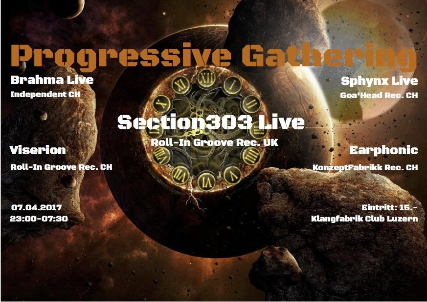 Party Flyer Progressive Gathering w/ Section303 Live UK 7 Apr '17, 23:00