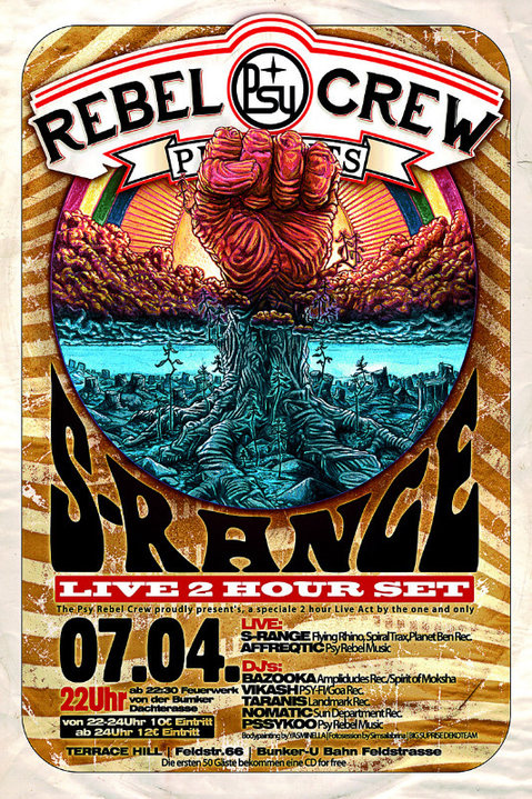 Party Flyer ★ ★ ★ PSY REBEL CREW Present's: S-RANGE Live ★ ★ ★ 7 Apr '17, 22:00