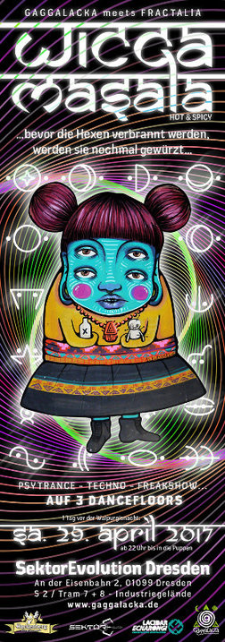 Party Flyer WICCA MASALA - Gaggalacka meets Fractalia 29 Apr '17, 22:00