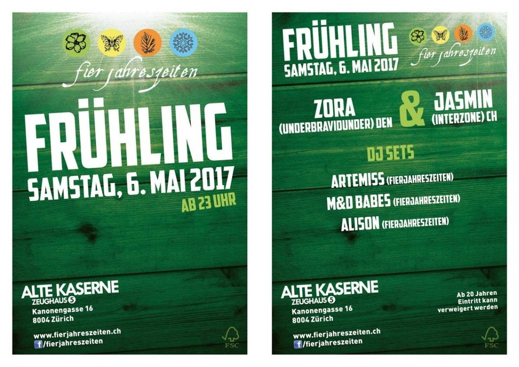 Party Flyer Fierjahreszeiten Frühlingsparty 06.05.2017 alte Kaserne ab 23:00 6 May '17, 23:00