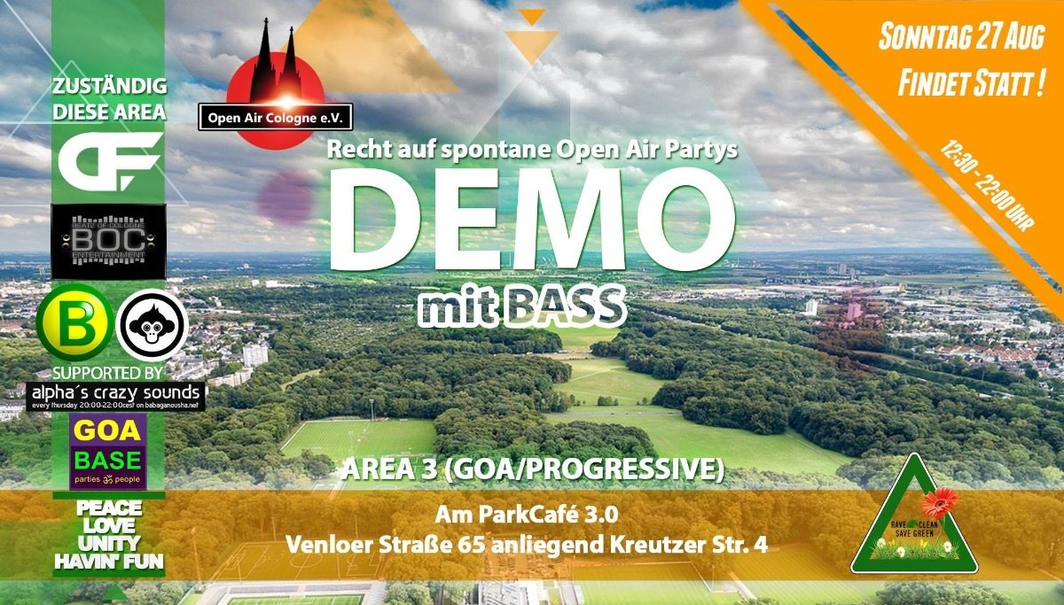 Party Flyer GOA-Demo für spontane Open Air Partys 2017 27 Aug '17, 12:30