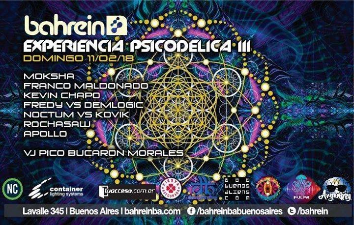 Party Flyer Domingo 11/2 Experiencia Psicodelica III @Bahrein 11 Feb '18, 23:59