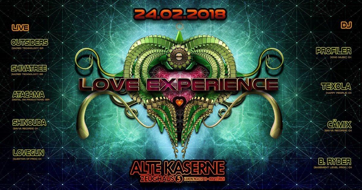 Party Flyer **LOVE EXPERIENCE** Alte Kaserne Zürich 24 Feb '18, 23:00