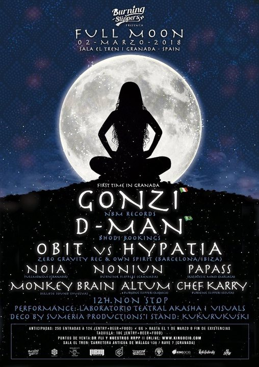 Party Flyer Burning Slippers: Full Moon - Gonzi (live) 2 Mar '18, 19:00