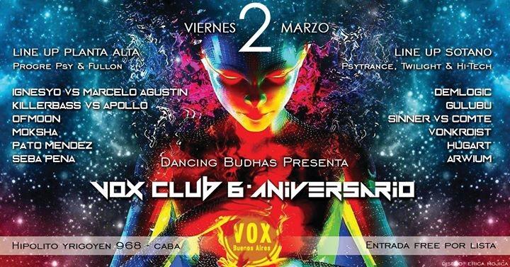 Party Flyer Free x Lista! Vier 2/3 Vox Club 6to Aniversario (2 Pistas Psy) 2 Mar '18, 22:59