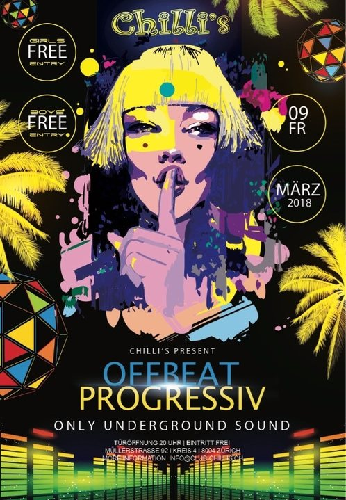 Party Flyer progressive_sounds (at) Chilli's 9 Mar '18, 20:00