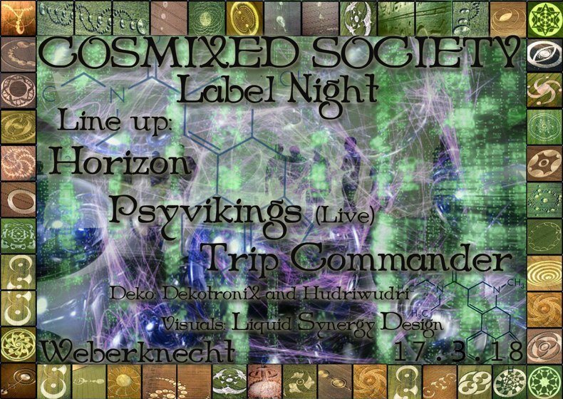 Party Flyer Cosmixed Society Label Night 17 Mar '18, 22:00