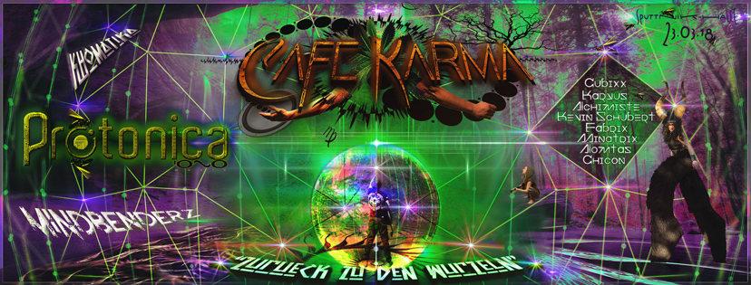 "Party Flyer Café Karma´s ""Zurück zu den Wurzeln"" + ""Pascal, Katzi´s 69er"" 23 Mar '18, 22:00"