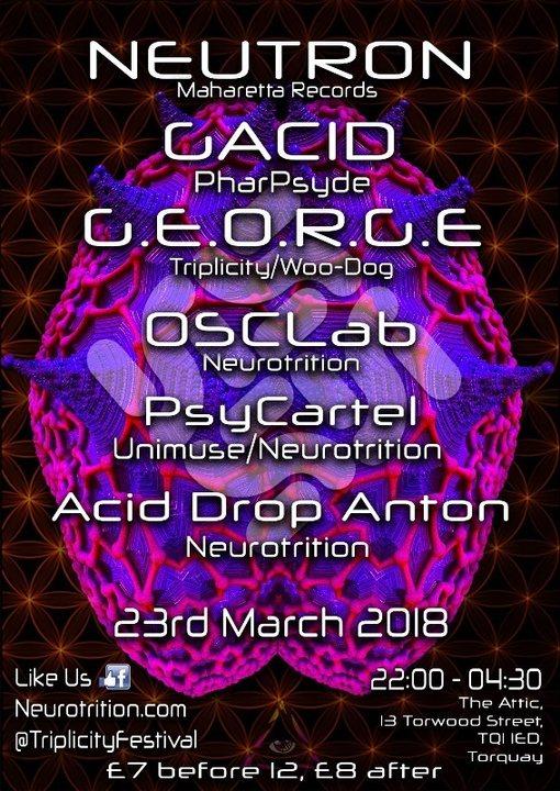 Party Flyer Neurotrition Psytrance Presents:Triplicity Festival Promo Party 23 Mar '18, 22:00