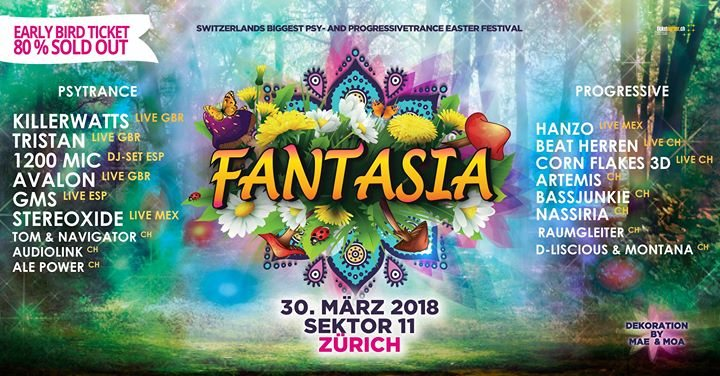 Party Flyer Fantasia presents Tristan Avalon Killerwatts GMS 1200mic 30 Mar '18, 21:30