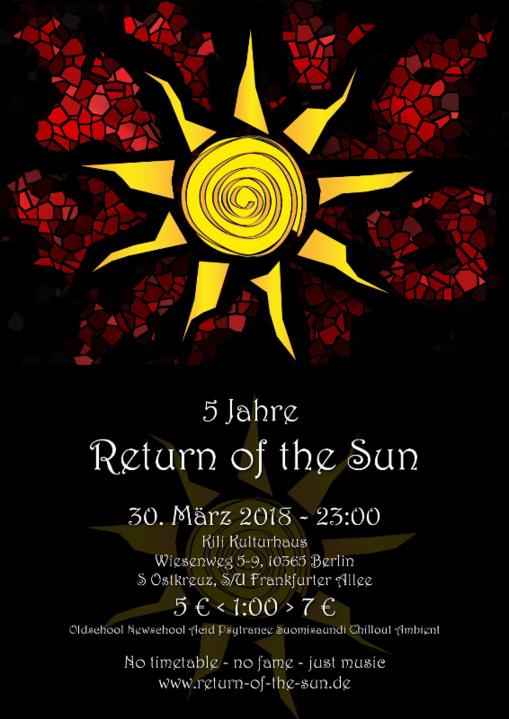 Party Flyer Fünf Jahre Return of the Sun 30 Mar '18, 23:00