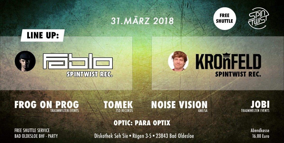 Party Flyer Fabio Fusco & Kronfeld in Bad Oldesloe 31 Mar '18, 22:00