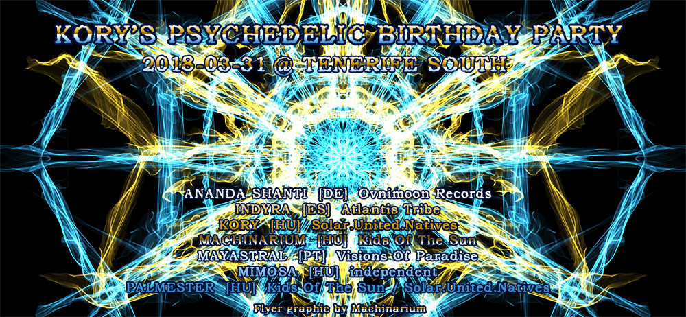 Party Flyer Kory's Psychedelic Birthday Party 31 Mar '18, 18:00