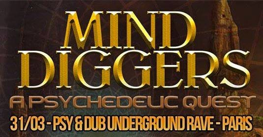 Party Flyer MIND Diggers - Psy & Dub Rave by Nataraja 31 Mar '18, 22:00