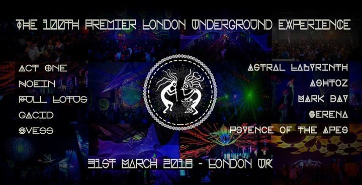 Party Flyer The 100th Premier London Underground eXperience ~ C 31 Mar '18, 22:00