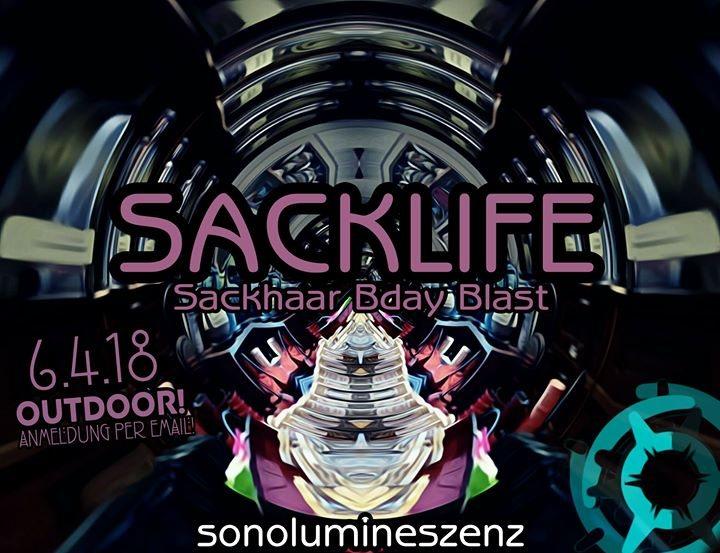 Party Flyer Sacklife w/ Yawanawa / Moglicore / Malum /Synthetic Flora uvm. 6 Apr '18, 22:00