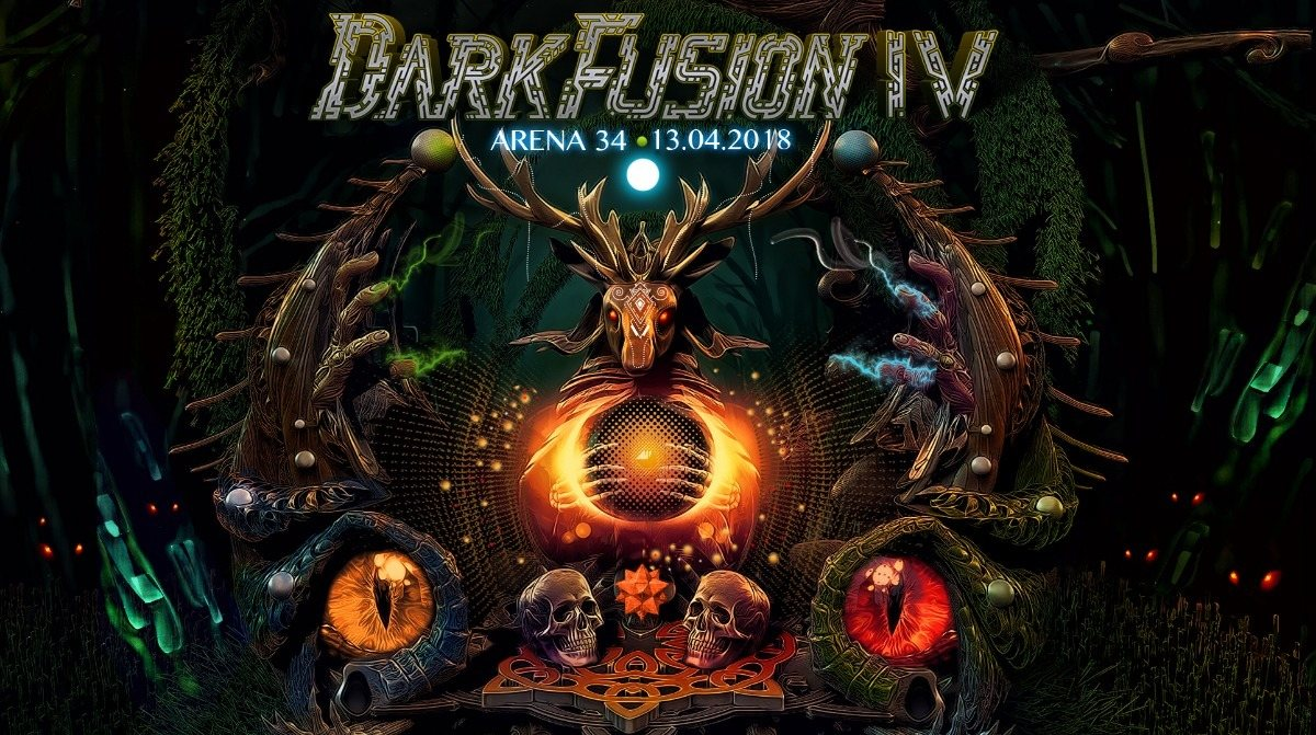 Party Flyer DARK FUSION 4 mit Psykovsky & Necropsycho! 13 Apr '18, 22:00