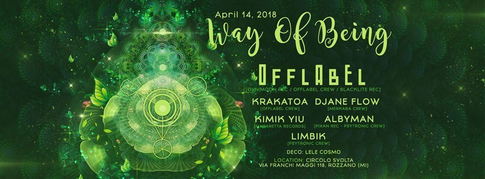 Party Flyer Way of Being 14 Apr '18, 22:00