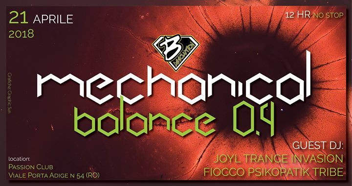 Party Flyer Mechanical Balance 0.4 Psy/Tekno Party 12H No Stop Music 21 Apr '18, 20:00