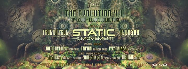 Party Flyer The Evolution 4.1 with Static Movement (Israel) 3 Floors 21 Apr '18, 22:00