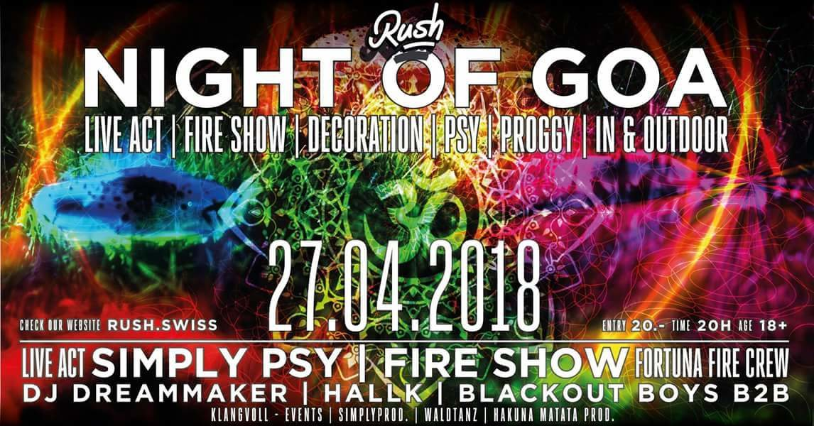 Party Flyer Night of Goa ॐ Finest Siwss Psytrance ॐ 27 Apr '18, 20:00
