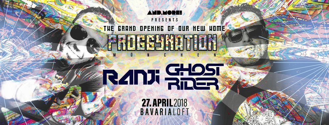 Party Flyer Proggynation München pres. Ghost Rider & Ranji [BlueTunes Rec.] 27 Apr '18, 22:00