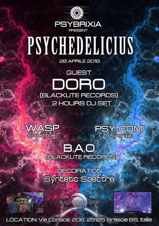 Party Flyer Psychedelicius - Doro DJ set 28 Apr '18, 23:30