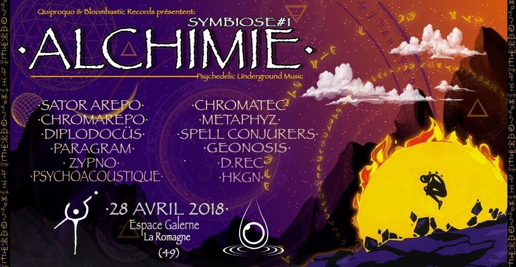 Party Flyer Symbiose #1 Alchimie (Sator Arepo/ Chromatec/ Metaphyz & more) 28 Apr '18, 21:00