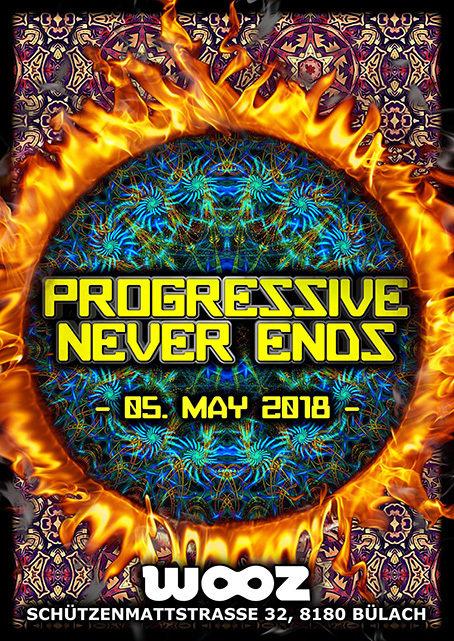 Party Flyer Progressive Never Ends - Nok - Symphonix - Benzoo - amm 5 May '18, 22:00