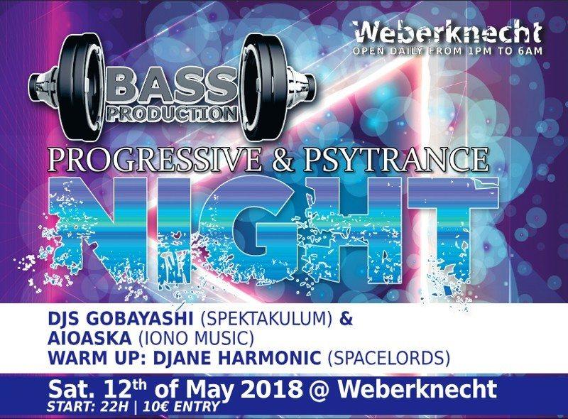 Party Flyer Bassproduction Progressive & Psytrance Night 12 May '18, 22:00