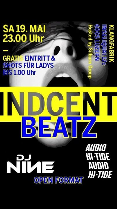 Party Flyer In-D-cent Beatz 19 May '18, 23:00