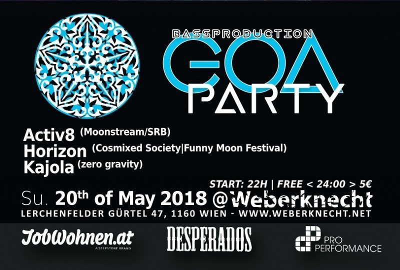 Party Flyer Bassproduction Goa Party 20 May '18, 22:00