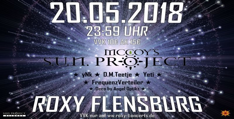 Party Flyer McCoys Sun Project, yNk, D.M.Teetje, Yeti und Frequenz Verteiler 20 May '18, 23:30