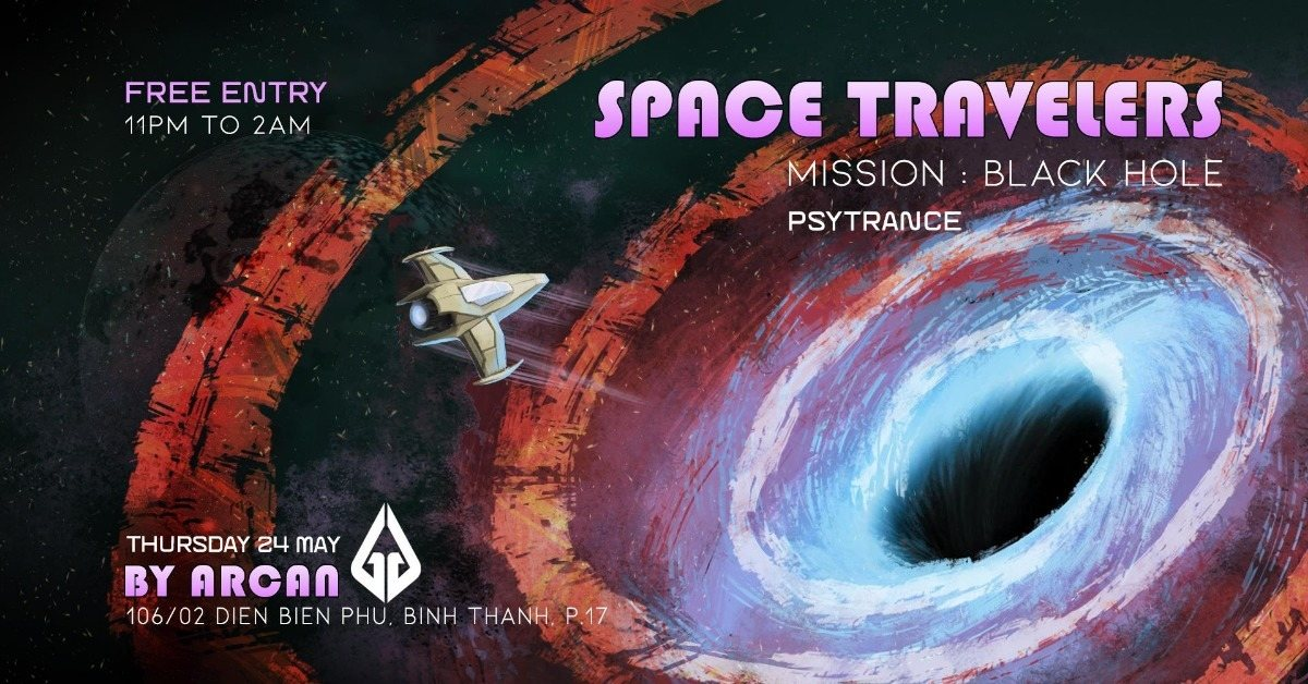 Party Flyer Arcan Residents - Space Travelers #3 - Mission Black Hole 24 May '18, 23:00