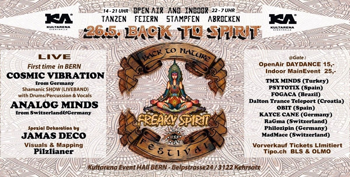 Party Flyer Back to Spirit (OpenAir Daydance & NIghtdance) 26 May '18, 14:00