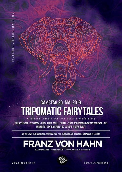 Party Flyer Tripomatic Fairytales - Goa, Psytrance & Progressive 26 May '18, 22:00