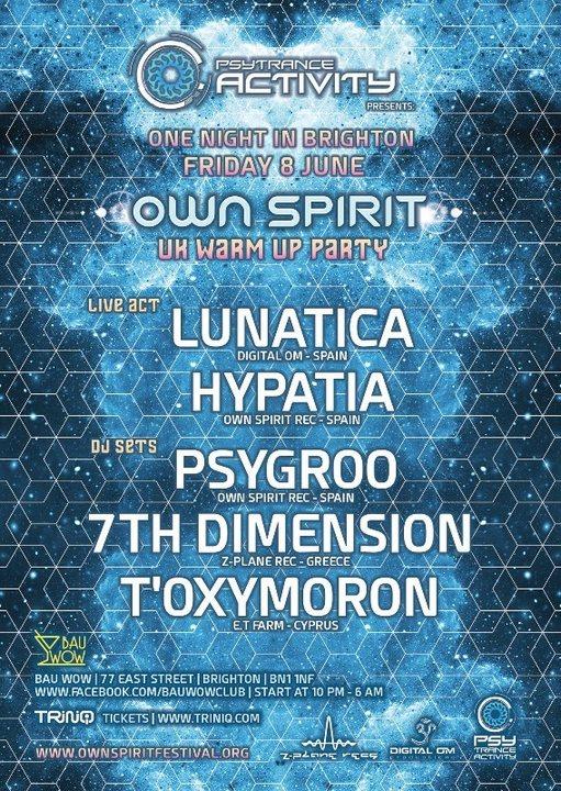 Party Flyer Psytrance Activity x Own Spirit UK Warm Up Party 8 Jun '18, 22:00