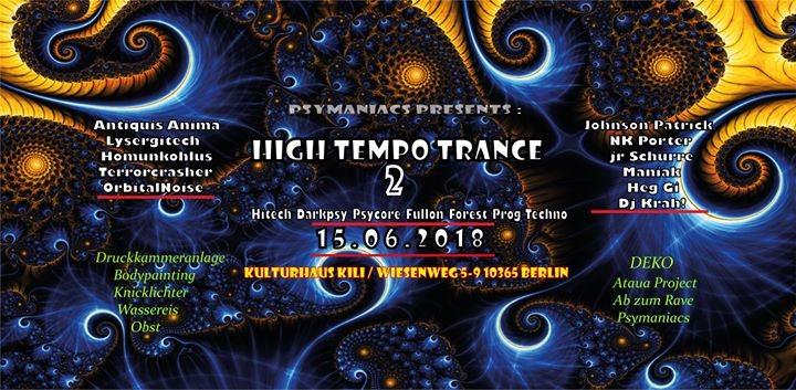 Party Flyer Psymaniacs Presents: High Tempo Trance 2 ॐ 15 Jun '18, 23:00