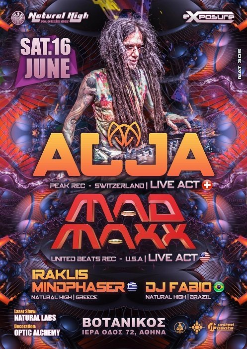 Party Flyer Natural Exposure presents AJJA & MAD MAXX in Athens on Sat 16 June !!! 16 Jun '18, 23:00