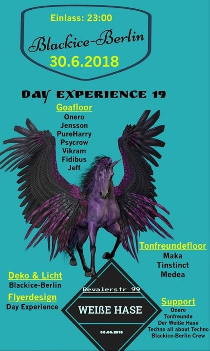 Party Flyer Day Experience 19 30 Jun '18, 23:00